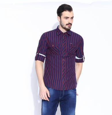 Jogur Men's Striped Casual White Shirt