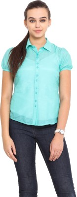 Pink Lemon Women's Solid Casual Light Green Shirt