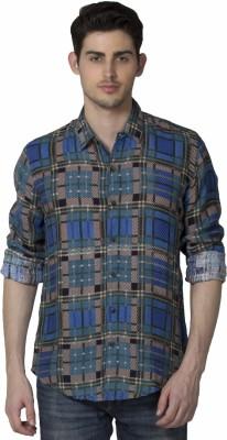 XARO Men's Checkered Casual Dark Green Shirt