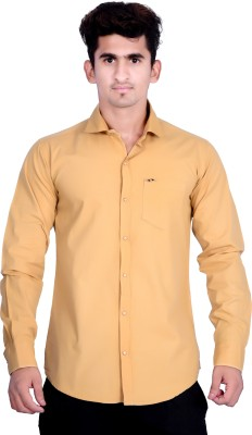 VAPE Men's Solid Casual Beige Shirt