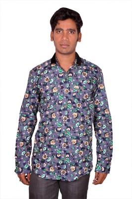 Royal Fashion Men's Floral Print Casual Blue Shirt