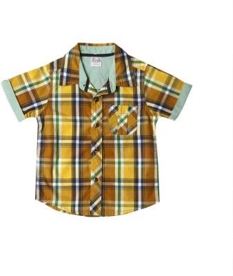 Wow Mom Baby Boy's Checkered Casual Yellow Shirt