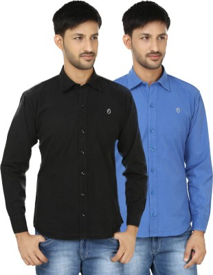 Hi Man Men's Solid Casual Black, Blue Shirt