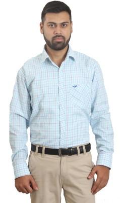 The Standard Men's Checkered Casual Blue Shirt