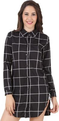 Mojeska Women's Striped Formal Black Shirt