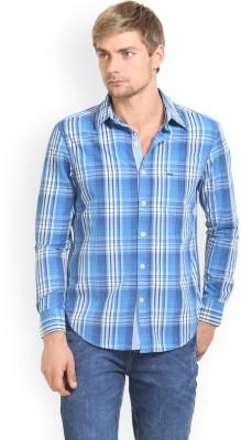 HW Men's Checkered Casual Blue Shirt