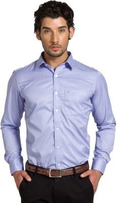 Klub Fox Men's Striped Formal Blue Shirt