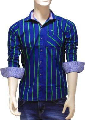 EXIN Fashion Men's Striped Casual Green, Blue Shirt