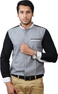 Flakes Fashion Men's Solid Casual Blue Shirt