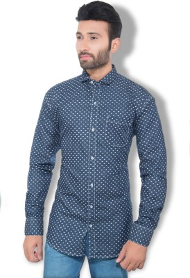 London Buck Men,s Polka Print Casual Blue Shirt