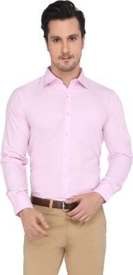 Devaa Men's Solid Formal Pink Shirt