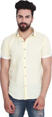 Yellow Tree Men's Solid Casual Linen Yellow Shirt