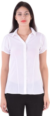 cutemad Women's Solid Formal White Shirt