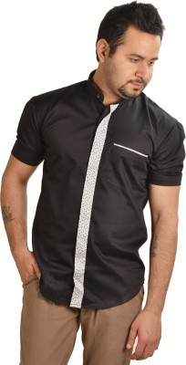 Just Differ Men's Solid Casual Black, White Shirt