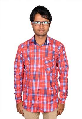 Royal Fashion Men's Checkered Casual Red Shirt