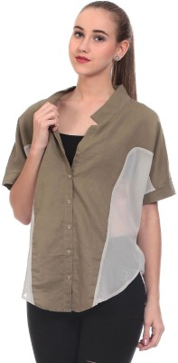 Saiints Women's Solid Casual Green Shirt