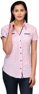 Fashion Cult Women's Printed Casual Pink Shirt