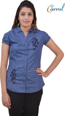carrol Women,s, Girl's Solid Casual Denim Blue Shirt