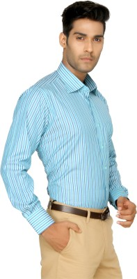 Devaa Mens Striped Formal Blue Shirt