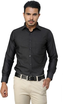 American Cult Men's Polka Print Formal Reversible Black Shirt
