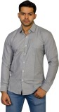 Ruti Men's Checkered Formal Silver Shirt