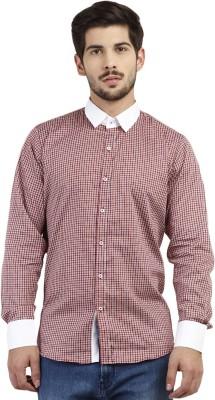 Marcello And Ferri Men's Checkered Formal Maroon Shirt