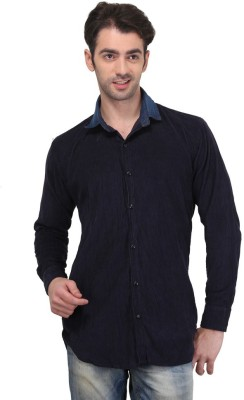 Custom Paid Men's Solid Casual Blue Shirt