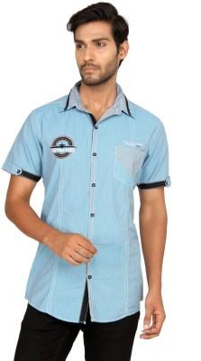 Macoro Men,s Striped Casual Blue Shirt