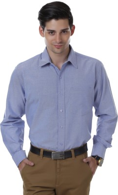 Cotton County Men's Solid Formal Blue Shirt