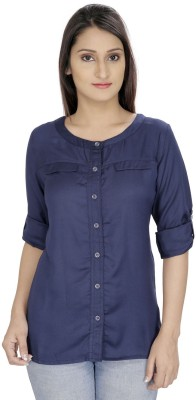 Franclo Women's Solid Casual, Formal Blue Shirt