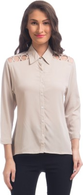 Uptownie Lite Women's Solid Casual Beige Shirt