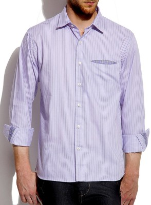 Roar and Growl Men,s Striped Casual Purple Shirt