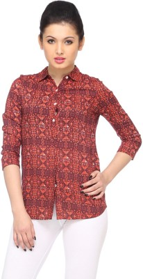 Zaivaa Women's Printed Casual Brown Shirt