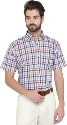 Greenfibre Men's Checkered Formal Blue, Red Shirt