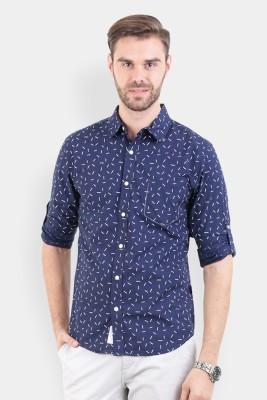Crocodile Men's Printed Casual Blue Shirt