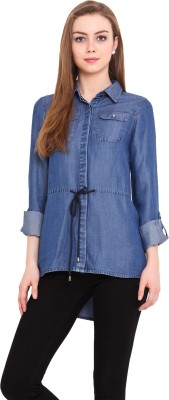Pryma Donna Women's Solid Casual Blue Shirt