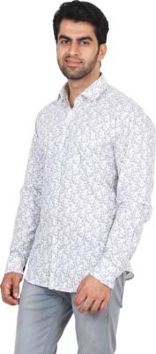 Rollinia Men,s Floral Print Casual White Shirt