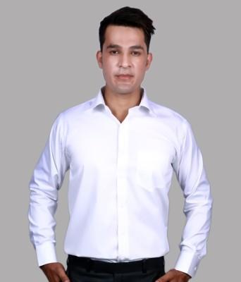Alark The Ethnic Men's Self Design Formal White Shirt