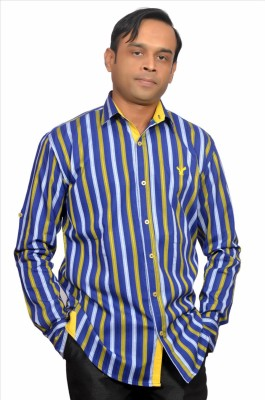 Adam In Style Men's Striped Casual Blue Shirt