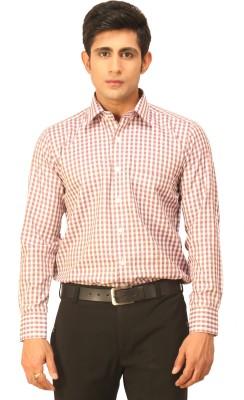 Seven Days Men's Checkered Formal Purple, White Shirt