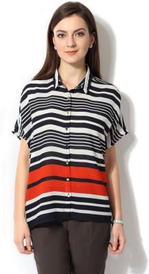 Van Heusen Women's Striped Casual Black Shirt