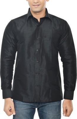 KENRICH Men's Solid Formal Black Shirt