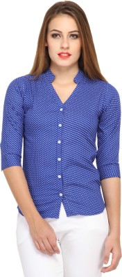 Cation Women's Printed Casual Blue Shirt
