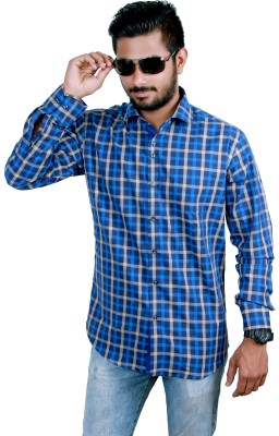 Players King Men's Checkered Casual Dark Blue Shirt
