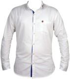 Zedx Men's Solid Casual White Shirt