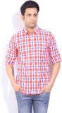 Lee Men's Checkered Casual Orange Shirt