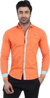 Fashion Stylus Men's Solid Casual Orange Shirt