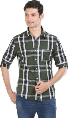 Flippd Men's Checkered Casual Light Green Shirt