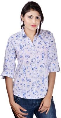 Shop Avenue Women's Printed Casual White Shirt