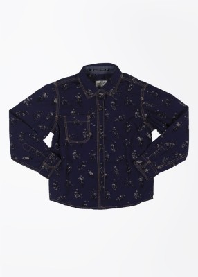 Pepe Jeans Boy's Printed Casual Blue Shirt